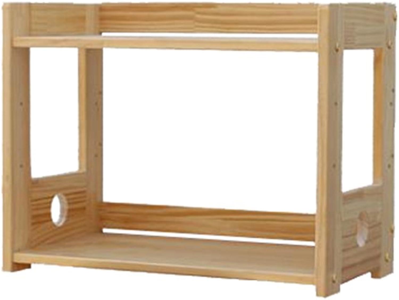 BJLWT Sundries Storage Rack,Kitchen Storage Rack-Printer Racks Desktop Small Items Storage Rack Microwave Oven Rack,Solid Wood Two Floors Goods Racks (Size   43cm)