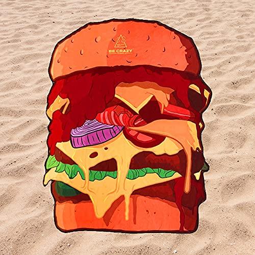 Toalla de Playa Microfibra Forma de Hamburguesa - Diseño Innovador, Fresco, Tentador y Divertido de una Hamburguesa | 180x110 cm