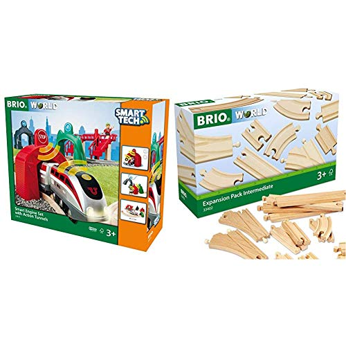 BRIO World - Smart Tech Engine Set with Action Tunnels | 17 Piece Train Toy with Accessories and Wooden Tracks & World 33402 Expansion Pack Intermediate | Wooden Train Tracks for Kids Age 3 and Up