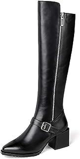 Stivali Alti al Ginocchio per Le Donne, di Modo di Inverno più Velluto Stivali Caldi del Cuoio Genuino Comodo Zipper Casua...