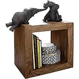 WOHNLING Standregal Massivholz Sheesham 44cm hoch Cube Regal Design Holzregal Natur-Produkt Beistelltisch Landhaus-Stil dunkel-braun Wohnzimmer-Möbel Unikat Echtholz Couchtisch viereckig...