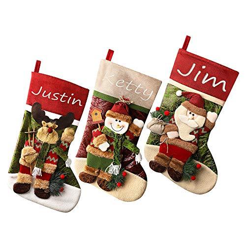 GDCB 1Pc / 3Pcs Calze di Natale Personalizzate Tela di Lino Ricamata Nome di Tela Personalizzata Aggancio Calza di Natale Ornamento Decorazioni familiari 19 `` x 11 ''
