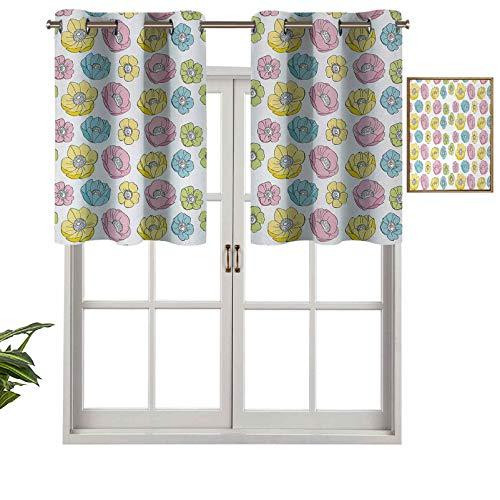 Hiiiman Cenefa de ventana de privacidad para interiores, diseño colorido de campo de temporada gráfico para niñas, juego de 1, 106,7 x 45,7 cm para puerta corredera de patio o comedor