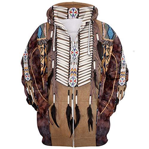Naixin Sudadera con Capucha India Hombres Sudadera con Capucha de nativos Americanos Sudaderas étnicas Estilo de Arte Indio Swag Wolf Lobo Pintura Colorida Cráneo Disfraz de impresión 3D