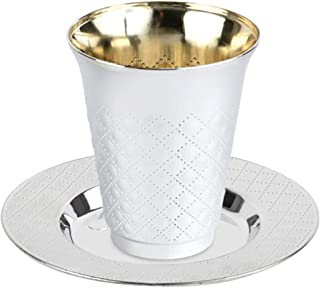 50 Pc 25 Pack 5 Ounce Kiddush Cups and 25 Plates (Trays or Saucers) Set - Silver Like Coated, Heavy Duty Plastic, Disposab...