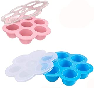 2 Pack Silicone Egg Bites Mold for Instant Pot Accessories - Fits Instant Pot 5,6,8 qt Pressure Cooker Baby Food Freezer Tray with Lid Reusable Storage Container, Pink/blue