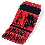 PPuujia Juego de cortaúñas de 16 piezas por juego de cortaúñas de cortador de uñas, bolsa plegable, herramienta de corte de acero inoxidable, kit de tijeras de corte de uñas (color 01)