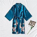 Bata de satén de Moda para Mujer, Albornoz Sexy para Mujer, Kimono de Seda, Bata de Novia, Ropa de Dormir, Crecimiento Nocturno para Mujer-Lake blue-5-S