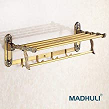 MADHULI Roman Style Antique Brass Strong Stainless Steel Folding Towel Rack for Bathroom/Folding Towel Stand/Hanger/Bathroom Accessories (24 Inch-Antique Brass Finish)