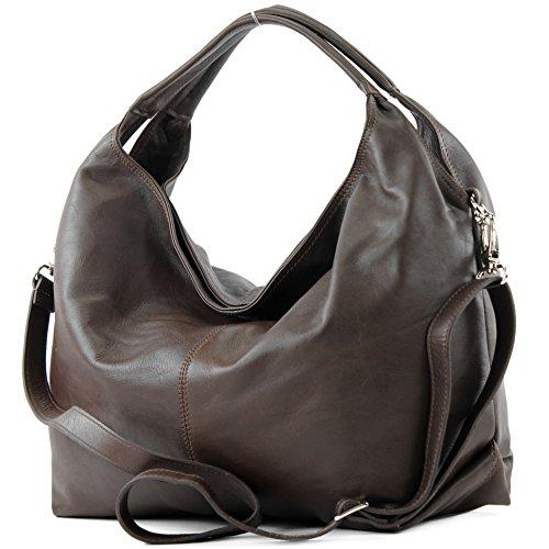 modamoda de - DS26 - ital Damenhandtasche aus Nappaleder, Farbe:Dark Chocolate