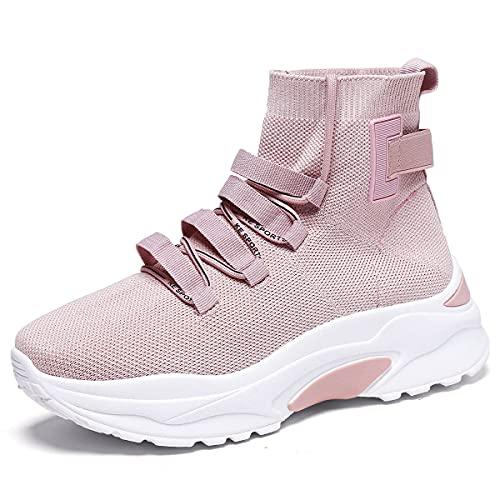EXSADER Mujer Zapatillas Casual Zapatos Deportivas Cómodos Fitness Atlético Paseo Correr Calzado Transpirable Ligero Deporte Sneakers