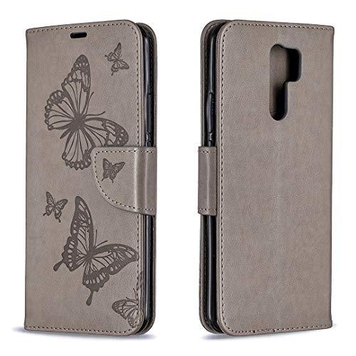 Hülle für Xiaomi Redmi 9 Handyhülle Schutzhülle Leder PU Wallet Bumper Lederhülle Ledertasche Klapphülle Klappbar Magnetisch für Xiaomi Redmi9 - ZIBF080832 Grau