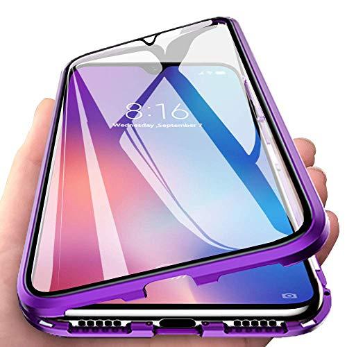 Yichxu für Samsung A52 5G Hülle Magnet, Magnetische Adsorption Handyhülle für Samsung Galaxy A52 5G, Einteiliges 360 Grad Gehärtetes Glas Schutzhülle Panzerglasfolie Durchsichtige Case Cover, Lila