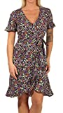 Only Onlolivia S/S Wrap Dress Wvn Noos Vestido, Black AOP: Shore Flower, 38 para Mujer