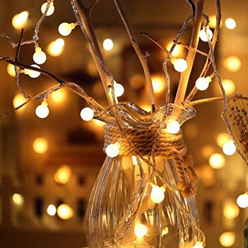 Asdomo - Guirnalda de 20 luces LED con forma de globo de bola con conexión USB, luces de hada, luces decorativas para interior y exterior, fiestas, bodas, árbol de Navidad y jardín