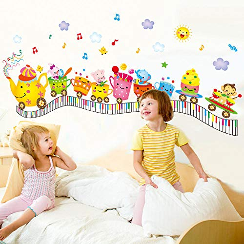Runinstickers muurstickers, cartoon creatieve theemok trein muziek symbool DIY sticker muur stickers jongen meisjes slaapkamer muursticker decoratie woonkamer decoratie sticker