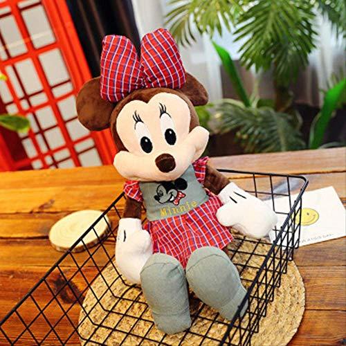 hhjxptst Soft Toys - 1pc 50cm Smilling Mickey Minnie Plaid Shirt Plüschtier Gefüllte Puppe Für Kindergeschenke Red Plaid Minnie