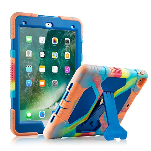 New iPad 9.7 2018/2017 Case, KIDSPR Lightweight Shockproof Rugged Cover with Stand Protective Full Body Rugged for Kids for New iPad 9.7 inch 2018/2017 (6th Gen, 5th Gen) (Ice/Blue)