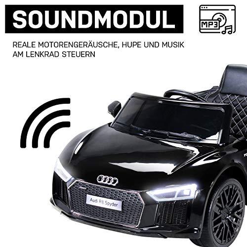 RC Auto kaufen Kinderauto Bild 5: Kinder Elektroauto Audi R8 Spyder Modell 2017 NEU Lizenziert Original Kinderelektroauto Kinderfahrzeug Auto (Schwarz)*