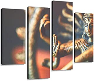 Shiva Sculpture Canvas Wall Art Hanging Paintings Modern Artwork Abstract Picture Prints Home Decoration Gift Unique Designed Framed 4 Panel
