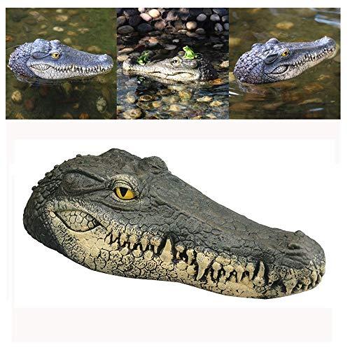 Schwimmende Krokodil Kopf - 2019 Neu Wasser Köder Lockvogel - Schwimmende Harz Krokodilkopf Garten Teich Art Decor - für Gans, Raubtier, Reiher, Ente Kontrolle - 34x15x8.5 cm (Mehrfarbig)
