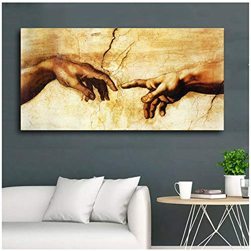 "LELME Leinwand Kunst Druck Poster Wandkunst Leinwand Malerei Hand Gottes Schöpfung der Malerei Home Decoration Wandbild 30x60cm (11.8""x23.6) Kein Rahmen"