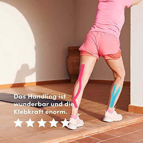 Effekt Manufaktur Kinesiologie Tape in verschiedenen Farben (5m x 5cm) – Kinesiotapes wasserfest und elastisch Sport – Physiotape Kinesiotape Set Sporttape – Tape Kinesio (Hellblau + Pink, 2er Set) - 4