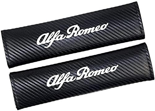2Pcs CarbóN Fibra Coche Seguridad Cinturón Almohadillas Protectores Hombro para Alfa Romeo All Models, Transpirables Comodidad Correa Car Interior Estilo Accesorios