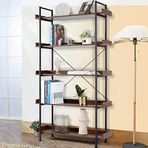 ECOTOUGE 5 Tier Bookcase, Vintage Industrial Style Open Storage Display Shelves Organizer with Metal Frame Rustic Book Shelf, Furniture for Collection for Home Office, Distressed Brown