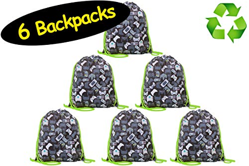 Video Game Favor Bags Drawstring Backpacks for Gamer Party // Made of Recycled RPET // 6-Pack, 12 x 14 inches