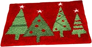 dailymall Christmas Latch Hook Rug Kits DIY Tapestry Carpet Rug Making for Kids Adults Beginners 50x36cm - Xmas Tree Red