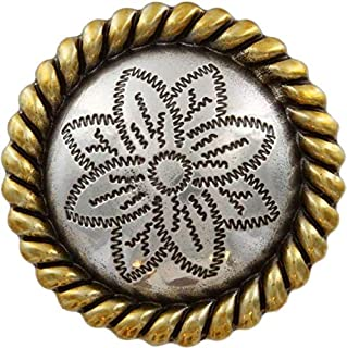 Scarf Slide Antique Silver and Gold Rope Edge Flower Engraved Concho 1-1/2''