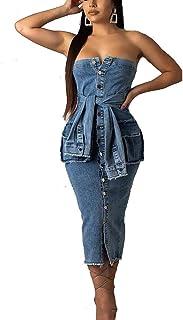 IyMoo Denim Midi Dresses for Women - Women's Summer Off Shoulder Dress Strapless Wrapped Chest Jean Dress