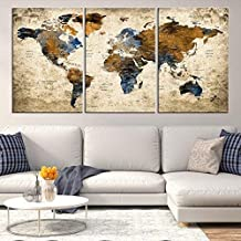 Sephia World Map Wall Art by My Great Canvas | 3 Piece Multi Panel X-Large Hanging Canvas Print for Home Decor | Track Your Travels with This Colorful Antique Looking Map | Framed & Ready to Hang,