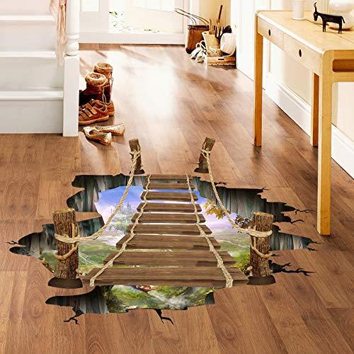 Pegatinas 3D para suelo o pared con diseño de puente levadizo para habitaciones de niños, decoración del hogar, paisaje, falsas ventanas