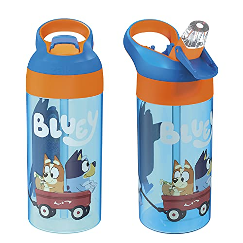 Zak Designs 17.5 oz Riverside Bluey Kids Water Bottle with Straw and Built in Carrying Loop Made of Durable Plastic, Leak-Proof Design for Travel, 2PK Set