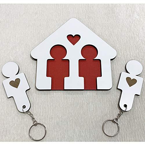Llaveros para Parejas Hombres | Organizador de Llaves para pareja hombres | Cuadro de madera con 2 llaveros | Regalo original ideal de San Valentín para Parejas | Regalo para él