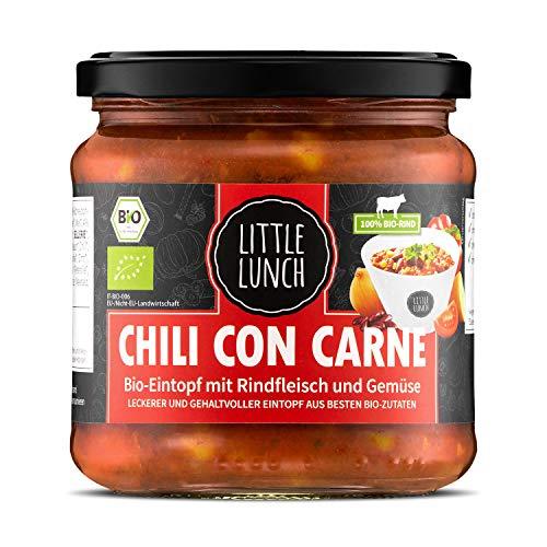 Little Lunch Bio Eintopf Chili Con Carne | 350ml | 100% Bio-Rindfleisch | Ohne zugesetzten Zucker | Glutenfrei | Laktosefrei | 100% Bio-Qualität | Keine künstlichen Zusätze | Ohne Geschmacksverstärker