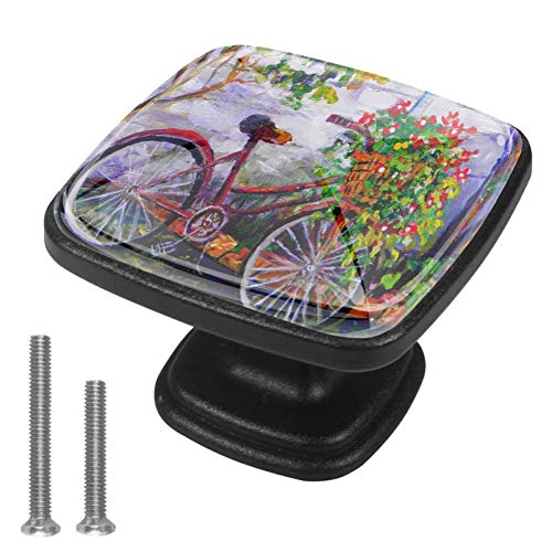 Garden Bicycle Flower Floral Summer Drawer Knob for Home Cabinet Dresser Bookcase 4PCS with Screws