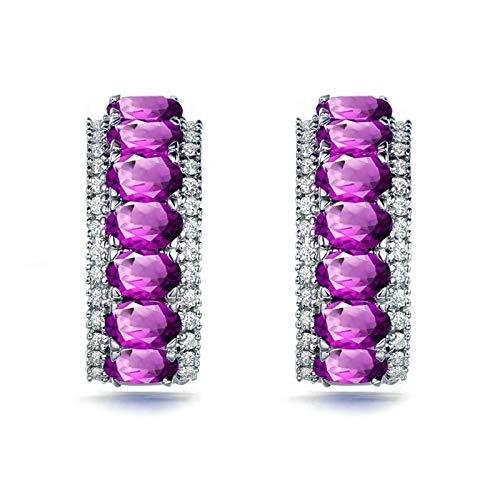 Bishilin Pendientes Silver S925 para Mujer Anillos de Mujer Clásico Moderno Amistad Púrpura Oval Cristal Piedra Natal de Febrero Bandas de Aretes de Compromiso Plata