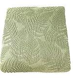 Elegante copriletto matrimoniale Fazzini in cotone con trattamento Stone Washed peso primaverile tinta unita Jacquard art. Felci cm. 260x260 (Verde 114)
