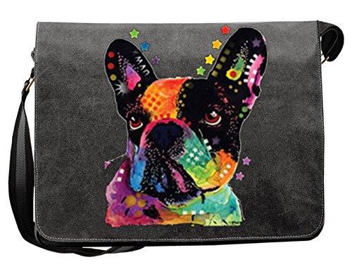 Französische Bulldogge Motiv Canvas Tasche - Hunde Umhängetasche : French Bulldog - Freizeittasche Hunde Neon Motiv