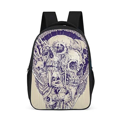Dofeely schedel patroon schooltas lichtgewicht schooltas backpack meisjes jongens en kinderen jongeren dames gymtas voor reizen Travelite met zijzakken beige