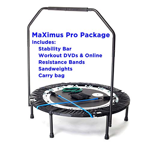 Maximus PRO Folding Rebounder | Voted #1 Indoor Exercise Mini Trampoline for Adults with Bar | Best Home Gym for Fitness & Lose Weight| Free Storage Bag, Resistance Bands, Online & DVD Workouts!