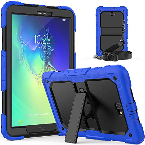 Galaxy Tab A6 10.1 Case [ONLY FIT SM-T580/T581/T585,No S Pen Version ]Full Body Rugged Protective Case with Stand for Samsung Tab A 10.1 2016/2018 SM-T580/T581/T585(Black+Blue)Boys/Girls/Kids/Schools
