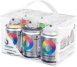 Montana Colors Pack Spray Water Based 6 Colors (Oro-Plata-Negro-Rojo-Verde-Blanco), 100 ml, Set de 6 Piezas