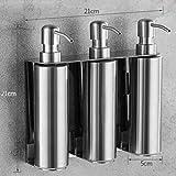 Alimentador del jabón líquido de la mano del fregadero de cocina jabón de contenedores de acero inoxidable 304 cepillado Wall Mounted Holder Botella baño champú, estilo 4