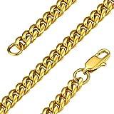 GoldChic Jewelry Golden Cuban Curb Chain Necklace - Dorado Collar Cubano Miami de Acero Inoxidable Chapado en Oro - 6mm de Ancho 24 Pulgadas de Largo