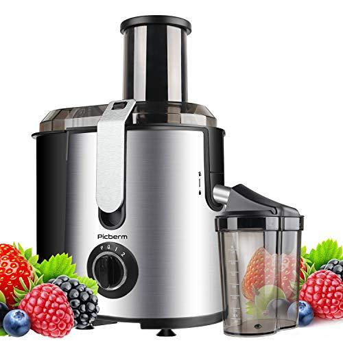 Entsafter Picberm Zentrifugaler Entsafter Gemüse und Obst 2 Geschwindigkeiten BPA Frei mit 75mm Einfüllöffnun und Anti-Tropf-Funktion
