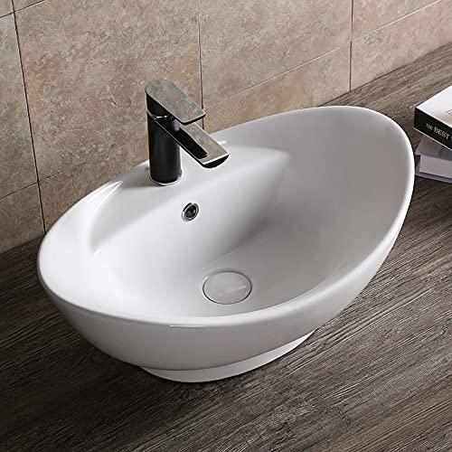Lavabo de cerámica para lavabo, lavabo, ovalado, redondo, rectangular, de cerámica, color blanco, varios modelos